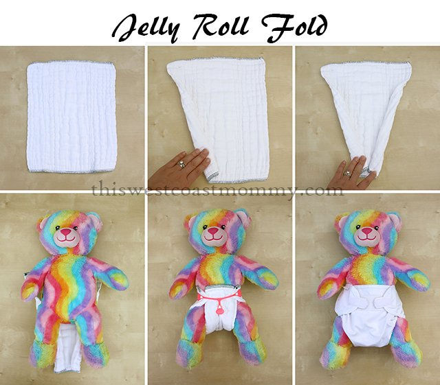 How to make a jelly roll fold with your prefold cloth diaper. Best fold for containing messes!