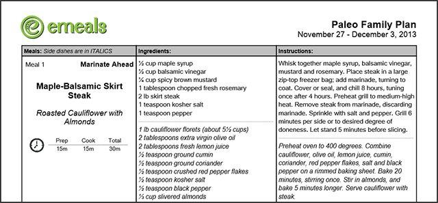 eMeals recipea; Maple-Balsamic Skirt Steack & Roasted Cauliflower #Recipe #Paleo #eMeals