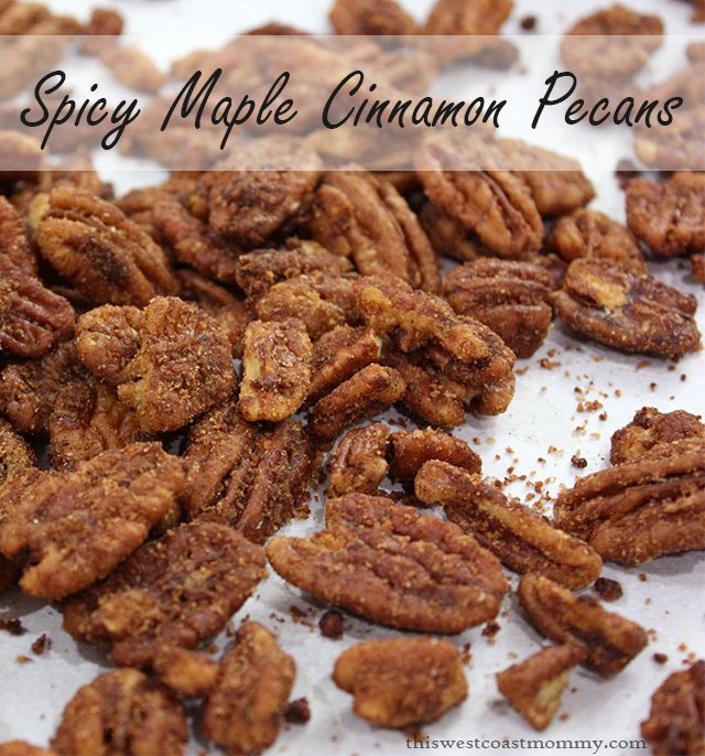 These delicious spicy maple cinnamon pecans are the perfect treat! #paleo #recipe #dessert