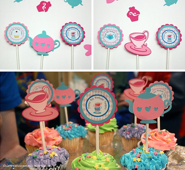 Birthday party decorations - cupcake toppers by Scraps to Remember.