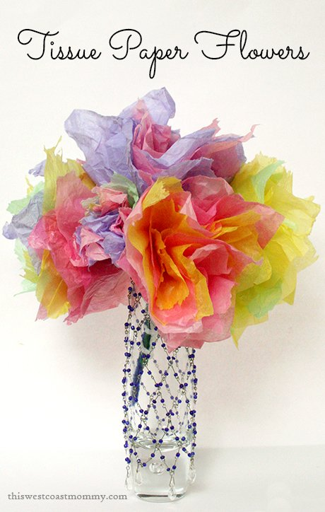 Spring Craft: Tissue Paper Flowers | This West Coast Mommy