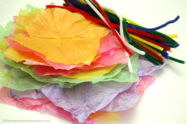 All you need is tissue paper and pipe cleaners to make pretty paper flowers for a spring bouquet craft.
