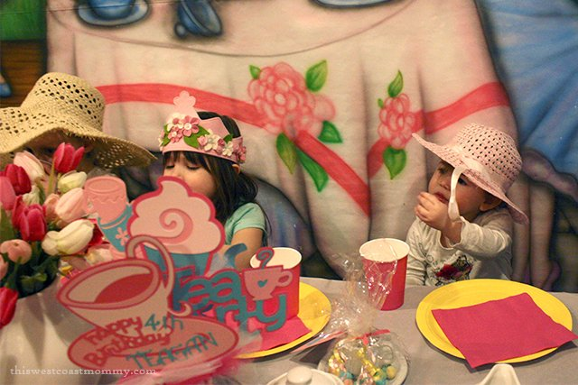 The Great Escape in Langley, BC, hosts fun themed birthday parties. Each child wore a fancy hat for our tea party.
