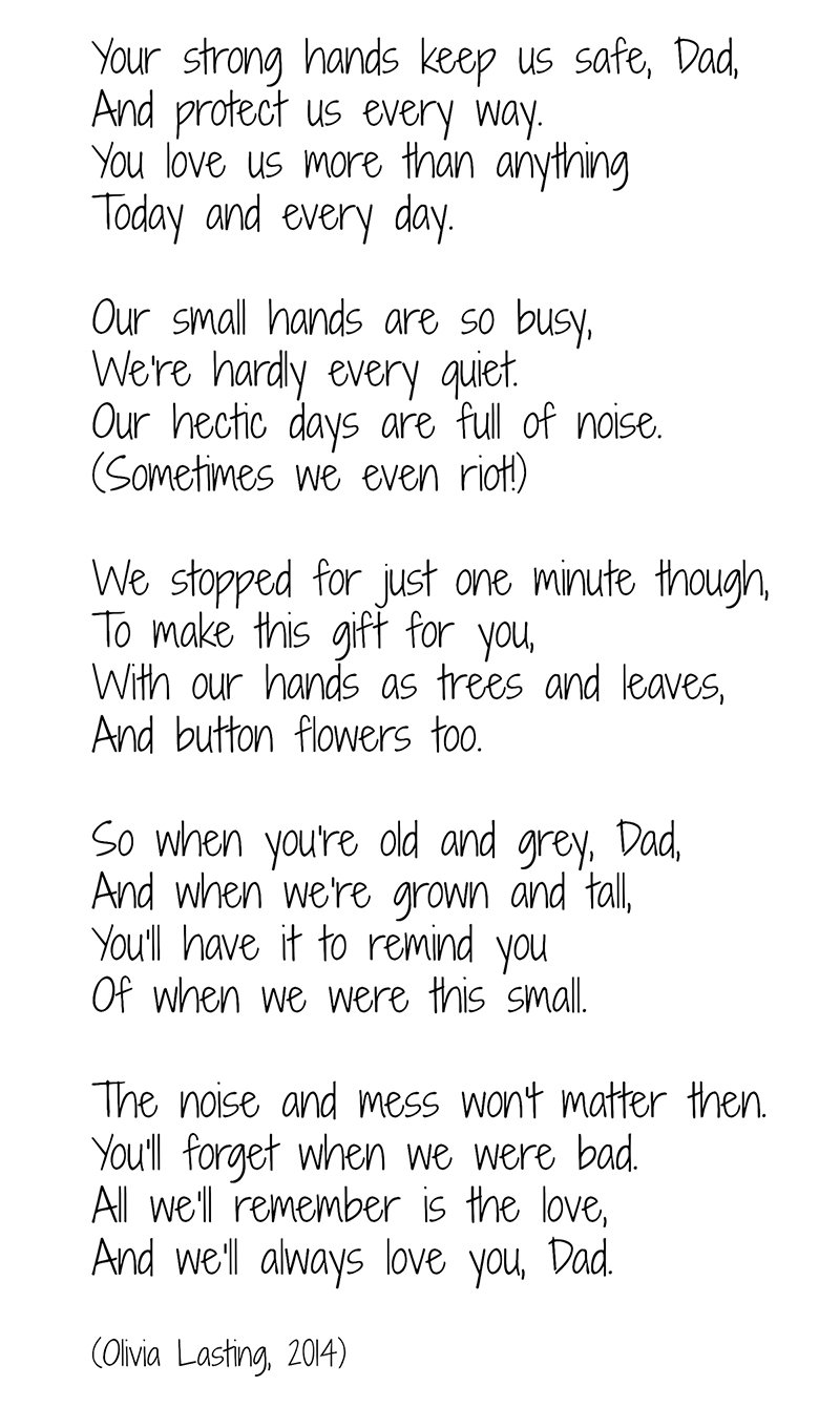 Father's Day Handprint Tree poem