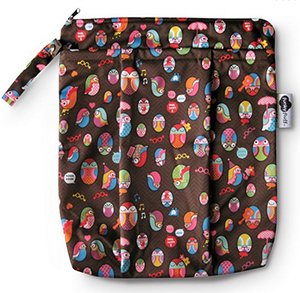 Funky Fluff's double pocket wet bag comfortably holds 10 diapers.