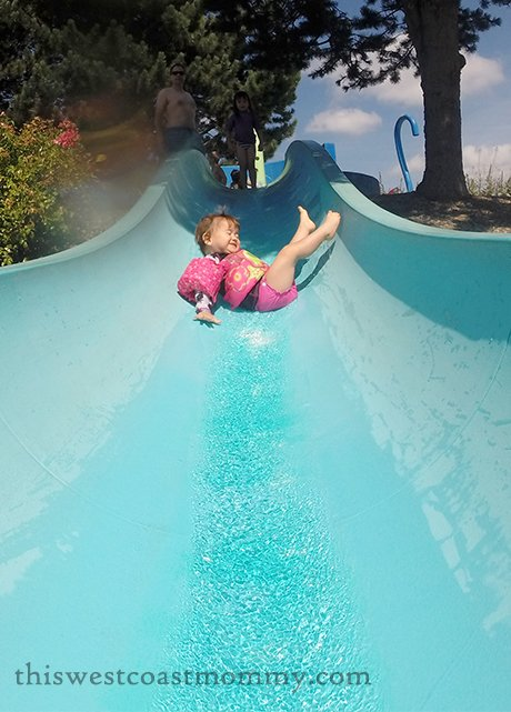 Down the kiddie water slide