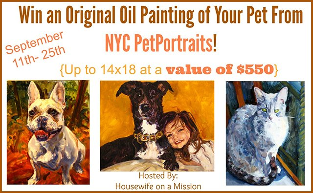 Win an original oil painting of your pet from NYC PetPortraits (US/CAN, 9/25)