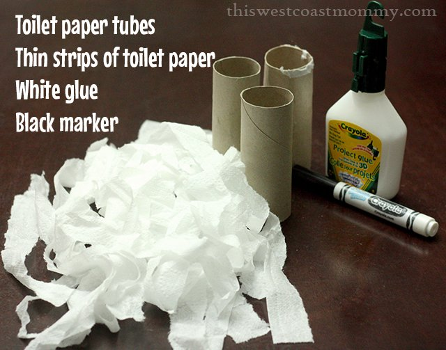 Toilet tube mummies craft supplies