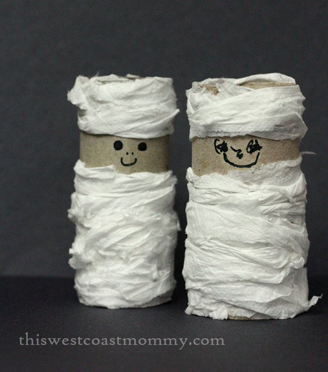 closeup toilet paper tube mummies