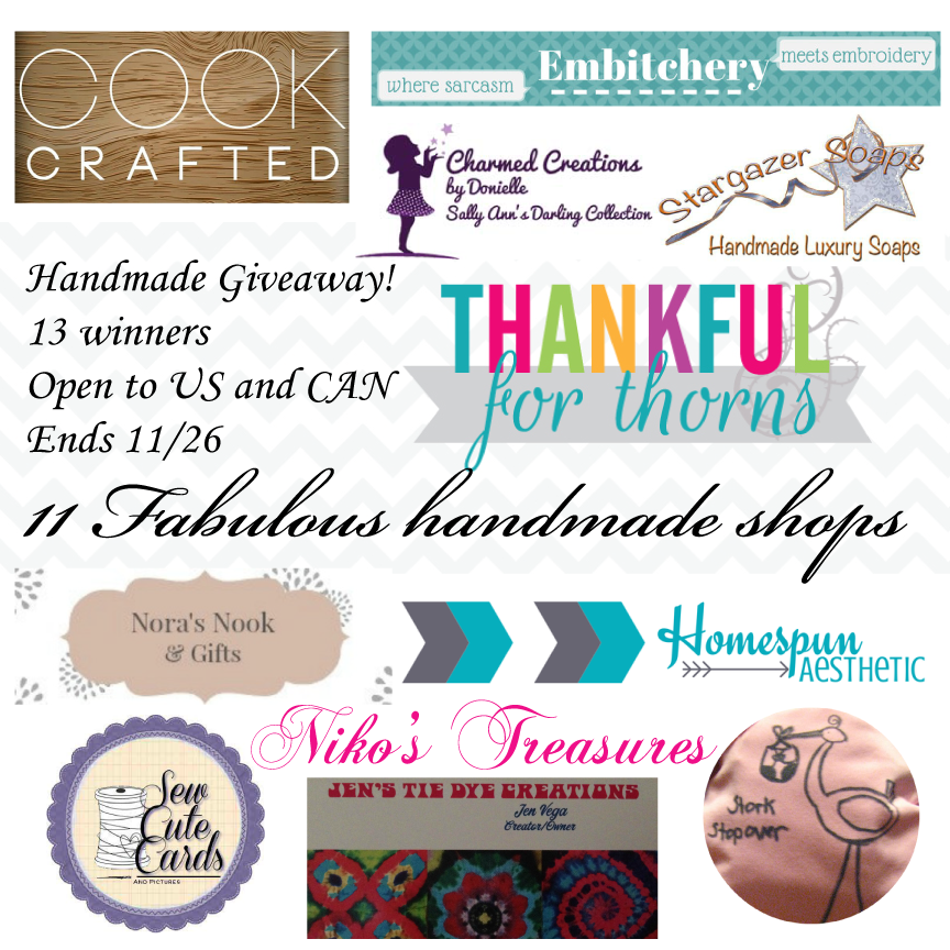 Enter to win 1 of 13 handmade gifts for the holidays! (US/CAN, 11/26)