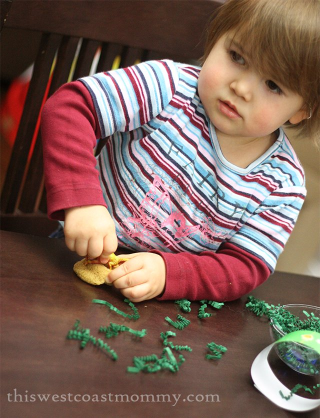 Peekapak playing with dinosaurs