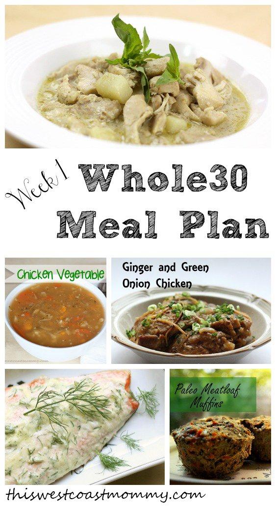 Whole30 Meal Plan Week 1