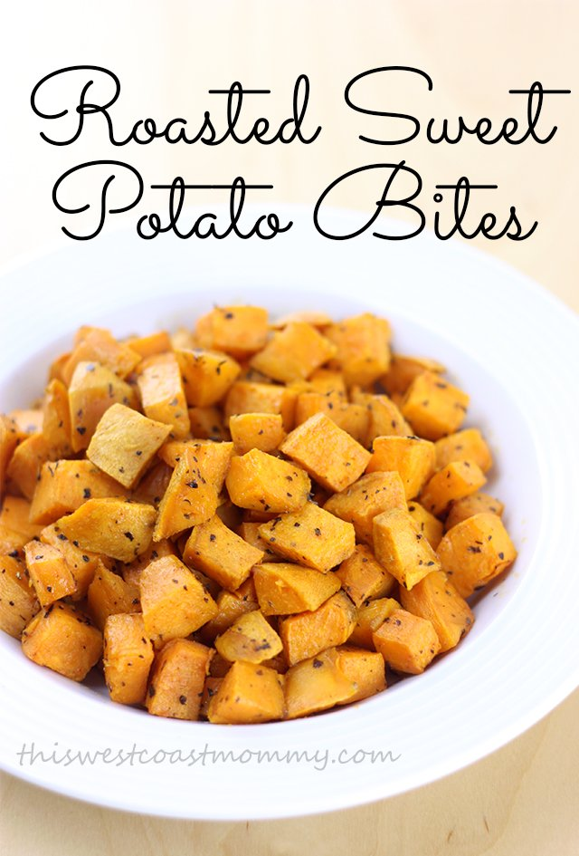 These roasted sweet potato bites are a family favourite. Delicious, so easy to make, and they go with just about anything! Paleo, Whole30, vegetarian recipe.