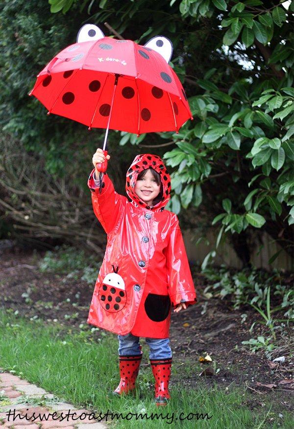 Kidorable rain gear in ladybugs