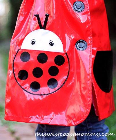 Kidorable raincoat detail - ladybug pocket
