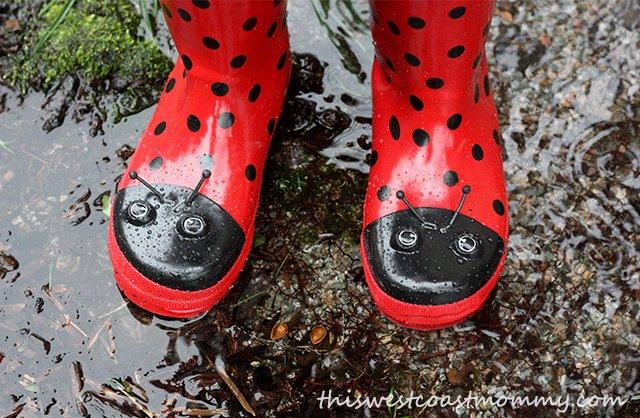 Kidorable ladybug rain boots