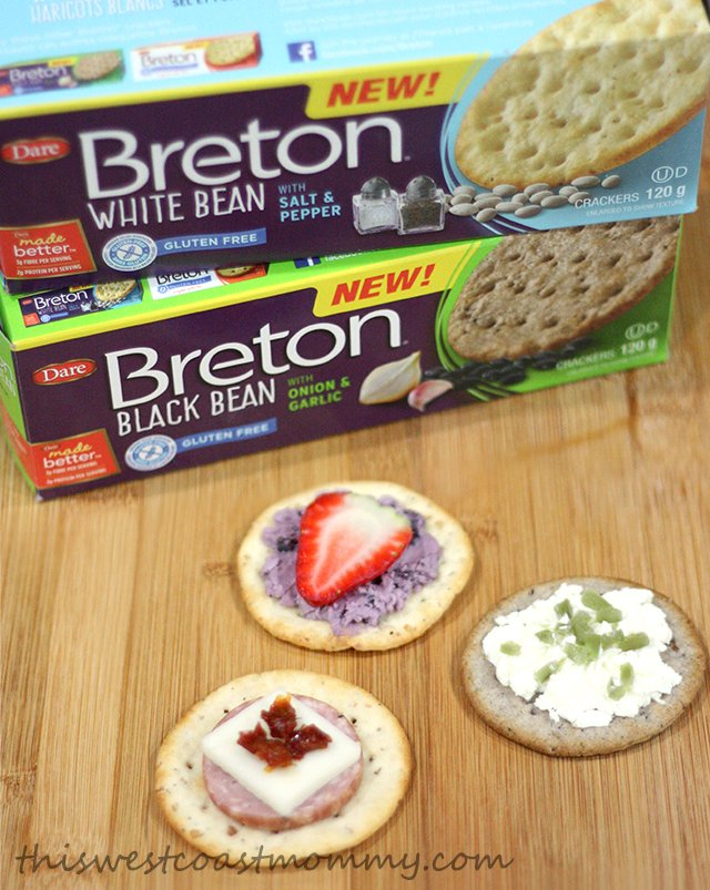 Breton Bean crackers topped 3 ways