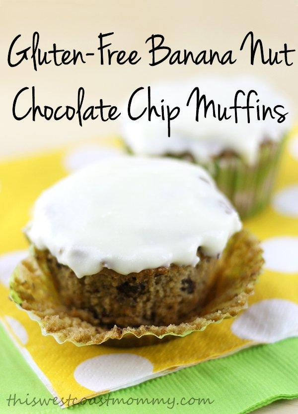 Gluten-free banana nut chocolate chip muffins
