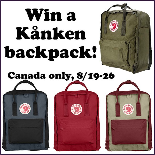 Win a Kanken backpack (CAN, 8/26)