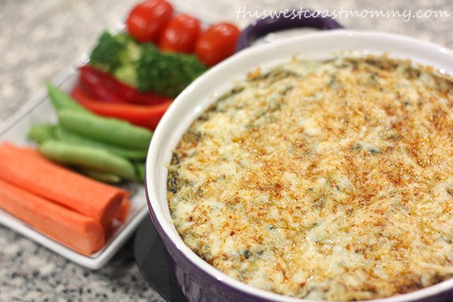 I was able to whip up baked spinach dip in just a few minutes. Delicious side dish with dinner or party food.