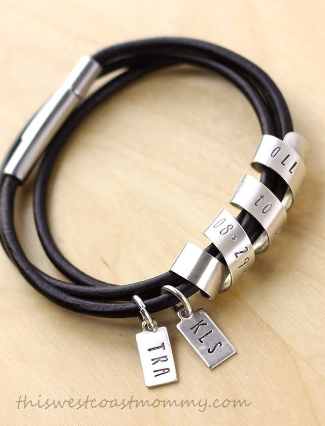Custom hand stamped Emma bracelet - secret message wrapped around a triple wrap leather bracelet