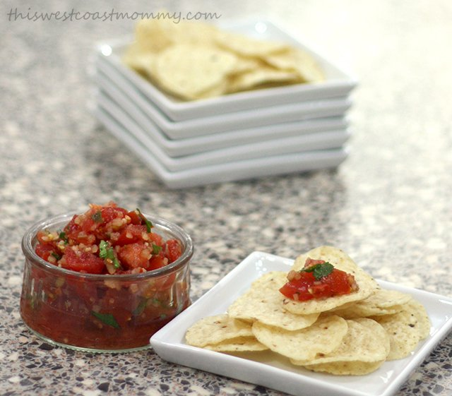 Fresh pico de gallo and tortilla chips make a fantastic snack!