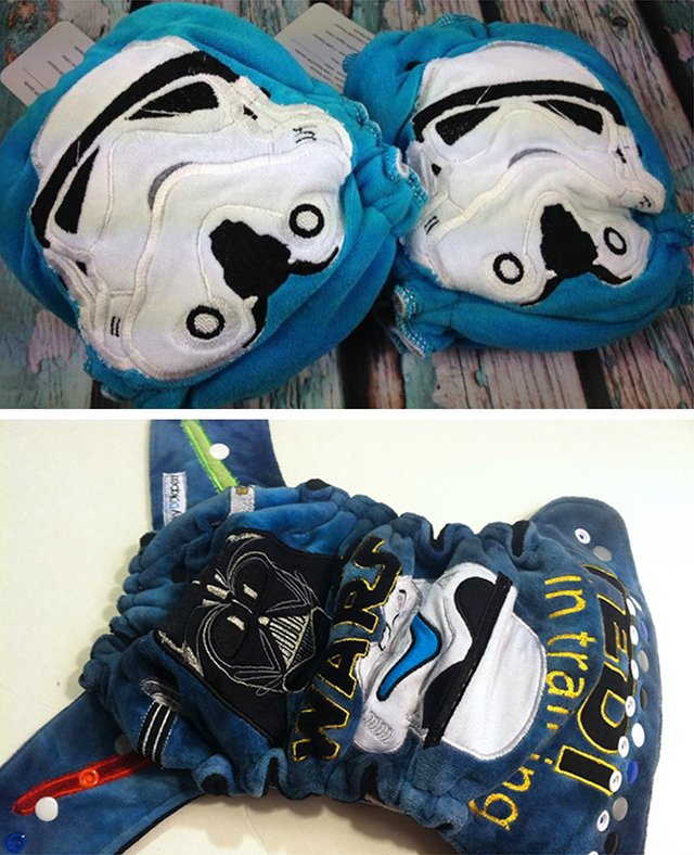 Stormtrooper and Jedi in Training hybrid fitted diapers - Binky D Diapers