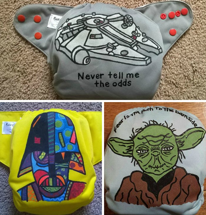 Hand painted Millenium Falcon, Darth Vader, and Yoda pocket diapers - Buzzy Booty