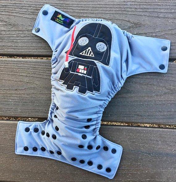 Darth Vader embroidered pocket diaper - SnarkyBums