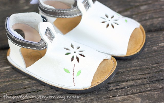 Soft Star children's sandals in white and pewter leather.