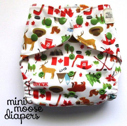 Canada eh pocket AI2 bamboo diaper - Mini Moose Diapers