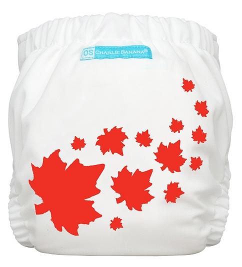 Maple Leaf on White OS Pocket Diaper - Charlie Banana