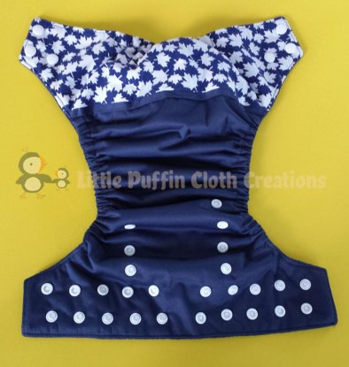 Maple Leaves on Blue Embellished Wrap Pocket Diaper - Little Puffin Cloth Creations
