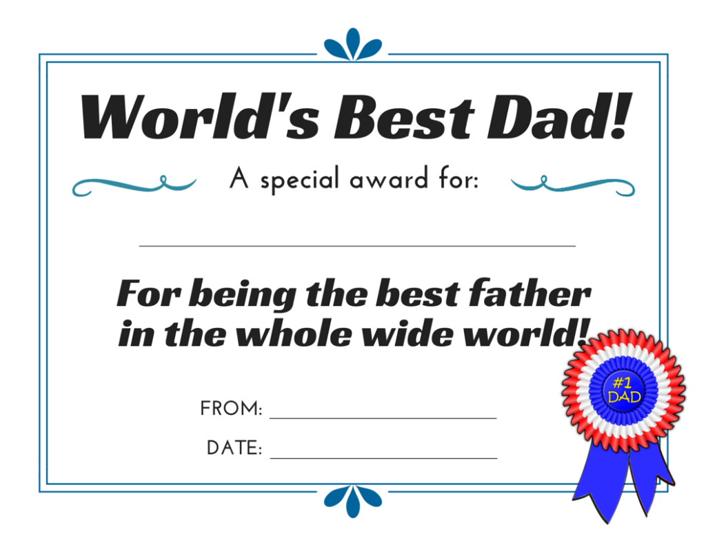 Worlds Best Dad Certificate 3 Free Printables For Fathers Day