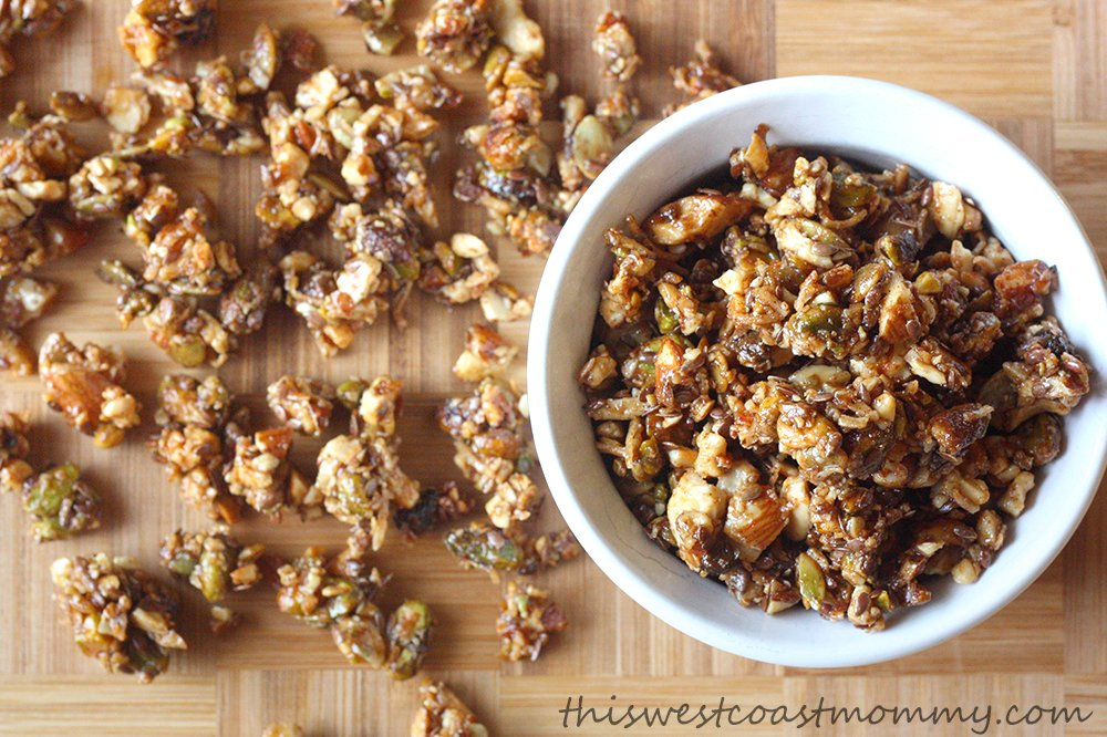 Instead of oats or other grains, my granola is made with almonds, cashews, pistachios, pumpkin seeds, coconut, and flax seeds. High in healthy fats, omega-3s, energy, protein, and fiber, this granola is perfect for camping and hiking!