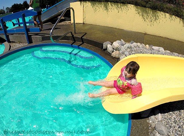 On the kiddie water slide