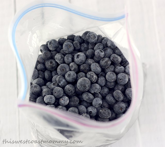 Transfer frozen blueberries to a freezer bag and store up to a year in your deep freeze.