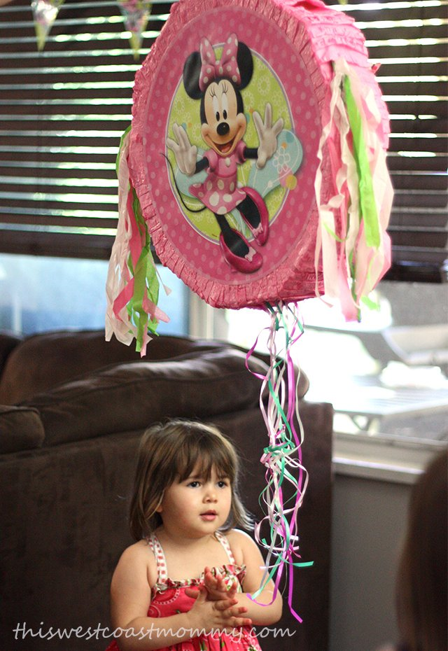 We filled out Minnie Mouse pinata with a few mini chocolate bars, candies, and some small toys.