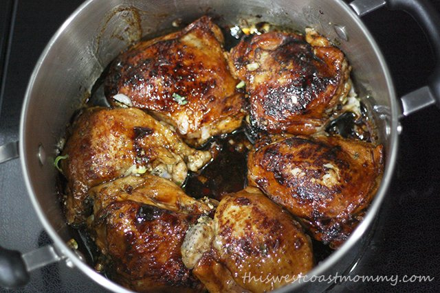 Brown chicken pieces in batches.