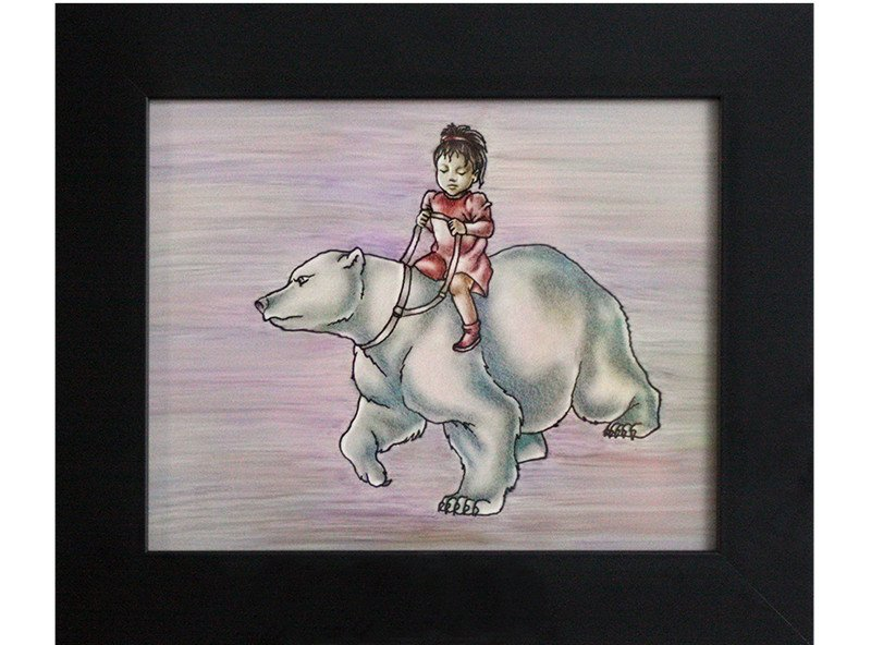 The little dark-haired girl setting out on a magical adventure on her polar bear reminded me of my little girl.