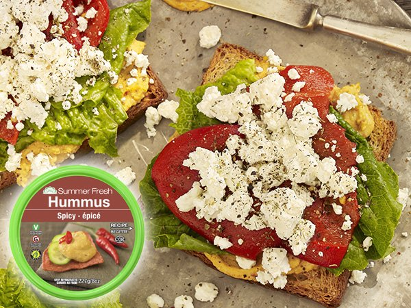 Spicy Hummus Red Pepper Goat Cheese Sandwich