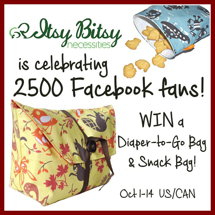 Win a Diaper-to-Go bag, matching changing pad, and a snack bag from Itsy Bitsy Necessities! (US/CAN, 10/14)