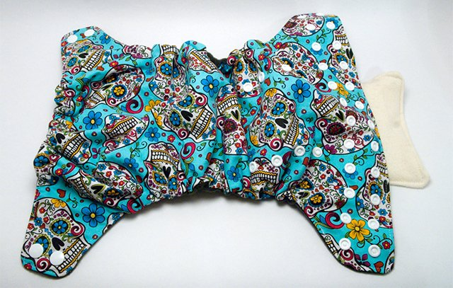 Blue Sugar Skulls OS AI2 from Rebel Bottom Diapers