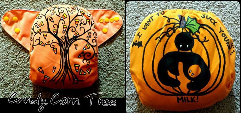 Handpainted Candy Corn & Halloween Breastfeeding diapers from Buzzy Booty