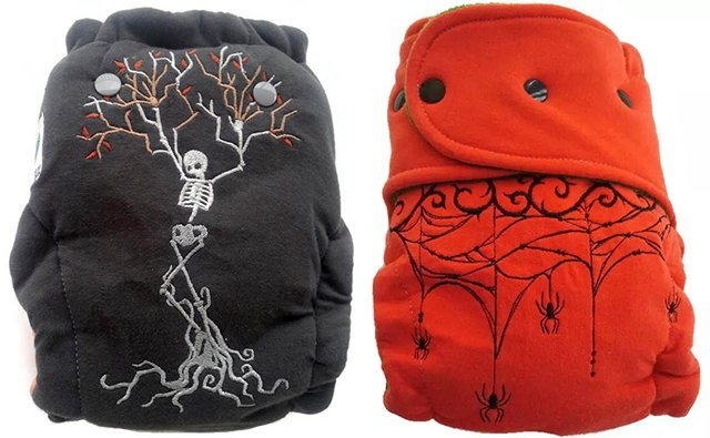 Embroidered skeleton tree & Spiders hybrid fitted diapers from Crunchy Love Co.