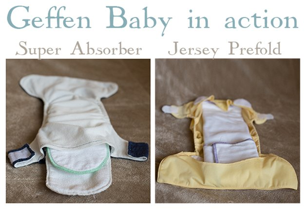Geffen Baby prefold and absorber in Action
