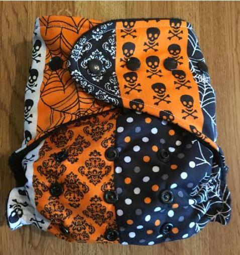 Halloween Stripe OS pocket diaper from Cow Patties