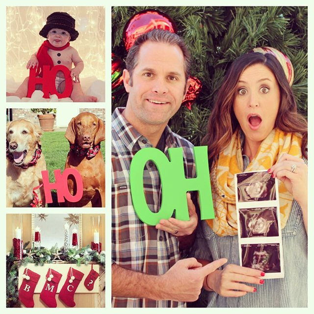 Create a cute and clever pregnancy announcement with photo props.