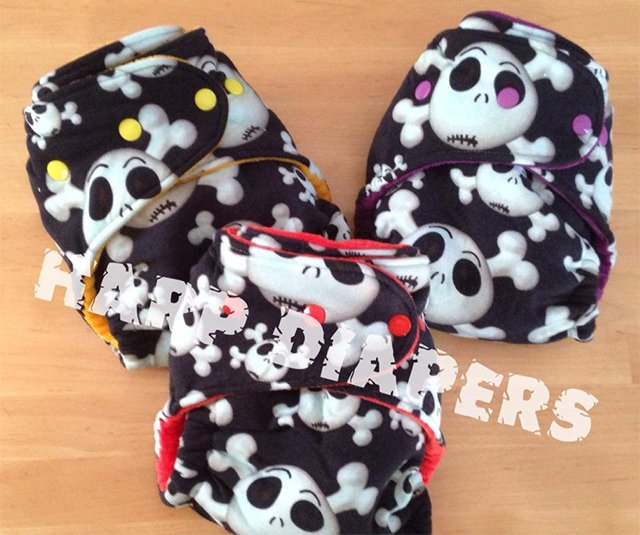 Skullz OS hybrid fitted diapers from Harp Diapers
