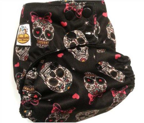Sugar Skulls newborn pocket diaper from Honeybuns cloth diapers